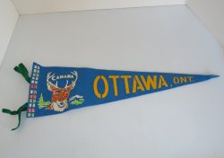 Ottawa, Ontario Canada Felt Banner Pennant, 1950s to 1970s