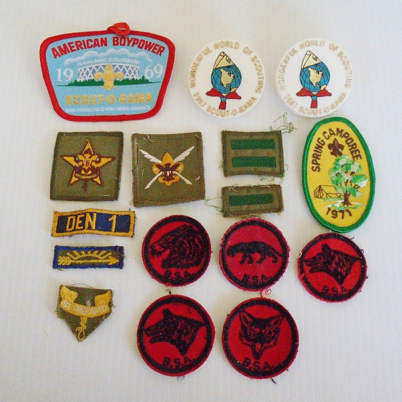 Quantity of 16 misc Girl or Boy Scout patches and tie holders. Late 1960s time frame. Scout-O-Rama. Wonderful World of Scouting