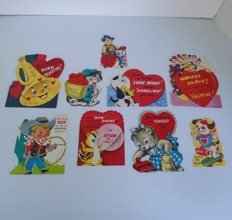 Lot of 9 Valentine Cards from the 1970s. 1 unused, 8 used. Features cowboys, indians, and various animals.