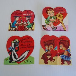 Lot of 4 Valentine Cards, Unknown dates, People Baby Animals