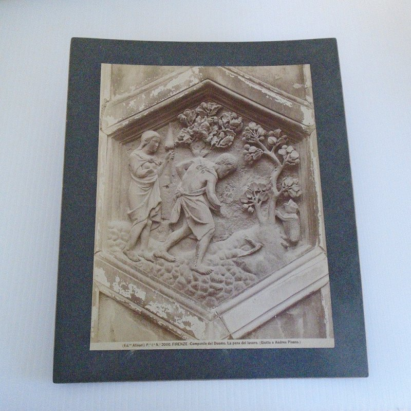 Circa 1900 print/picture. Adam and Eve. Antique photo of one of the biblical panels on the Florence Italy Cathedral. Alinari, Andrea Pisano. Duomo.