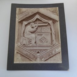 Music, Antique Print Giottos Bell Tower Panel, Duomo Italy