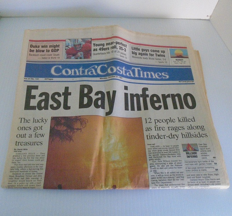 October 21, 1991 issue of the Contra Costa Times newspaper. From the morning after the Oakland Hills fire that consumed over 300 homes.