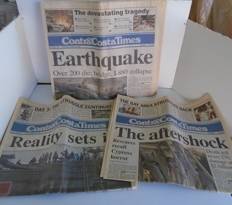 3 Contra Costa Times newspapers from the October 1989 Loma Prieta earthquake in the San Francisco area. 1 Complete, 2 partials. World Series quake.