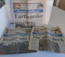 Contra Costa Times, Oct 18 1989 Earthquake, 3 Newspapers