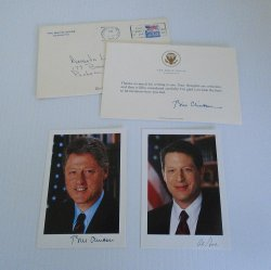 President Bill Clinton Thank You Card, Photos Bill and Al Gore