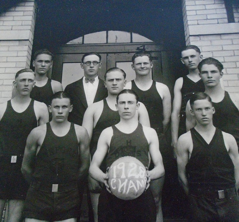 Large photos of the 1928 basketball champs from a school named 'Oxford'. This is in the area of Wichita Kansas. About 12 by 14 inches each.