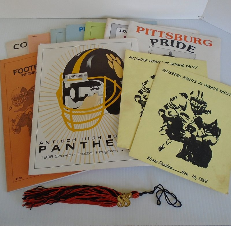 Pittsburg High School, Contra Costa County California. Football programs for years 1987 to 1992. 12 items including a 1988 graduation tassel.