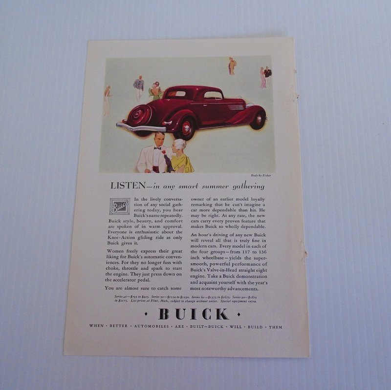 Full page ad for a General Motors 1934 Buick hardtop coupe automobile. Taken from a National Geographic magazine dated July 1934.