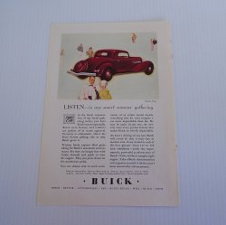 Buick Vintage Advertisement, 1934 GM Buick Coupe Ad