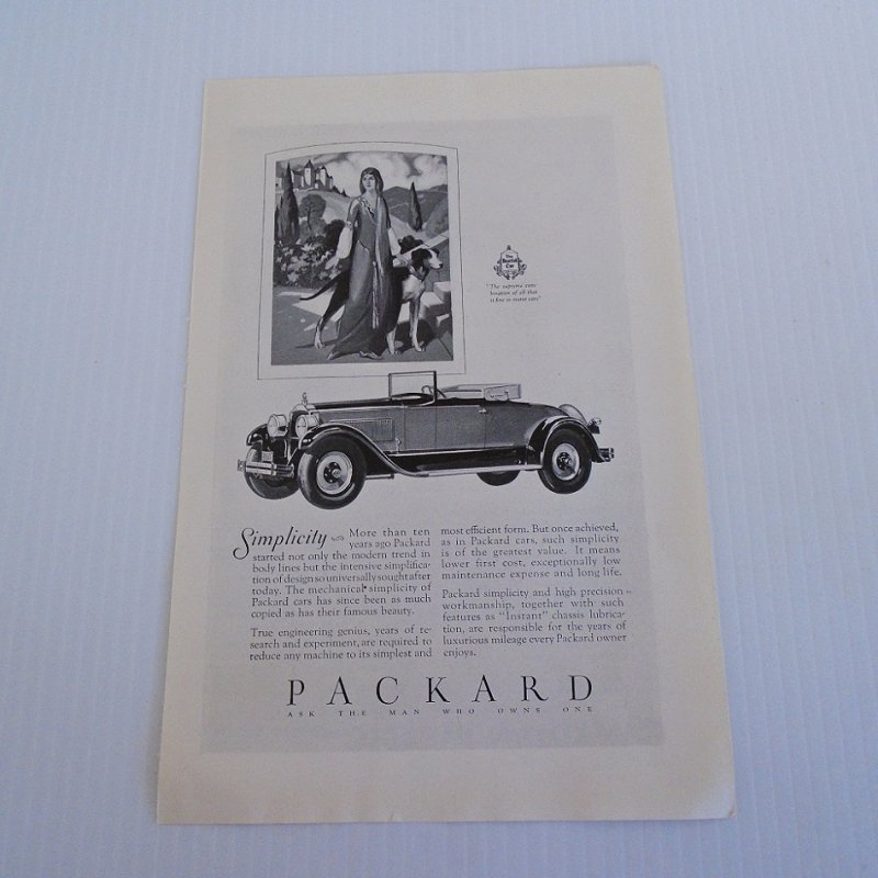 Full page ad for a 1927 or 1928 Packard automobile. Taken from a National Geographic magazine dated August 1927. Measures about 6.5 by 10 inches.