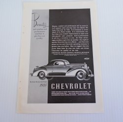 Chevrolet Sport Coupe Vintage 1935 Advertisement, Chevy