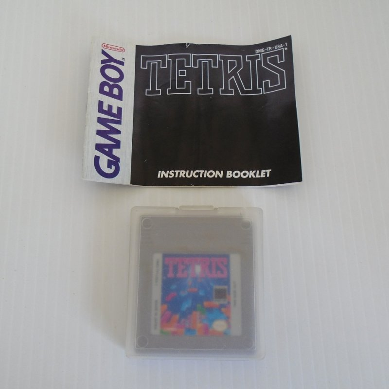Tetris. For the Nintendo Game Boy system. Cartridge, booklet, and protective case. Dated 1989.