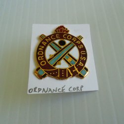 1 Ordnance Corps, U.S. Army DUI Insignia Pin, Larger D-22