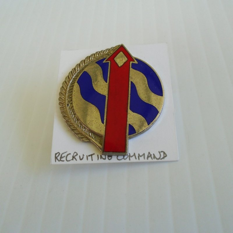 Insignia pin for U.S. Army Recruiting Command. Unknown time frame but has been around for a while. Worn on uniforms.