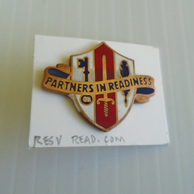 Insignia pin for U.S. Army Reserve Readiness Command. Probable Vietnam was time frame. Worn on uniforms.