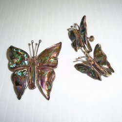 Butterfly Pin and Screwback Earrings, Abalone, 925, Mexico