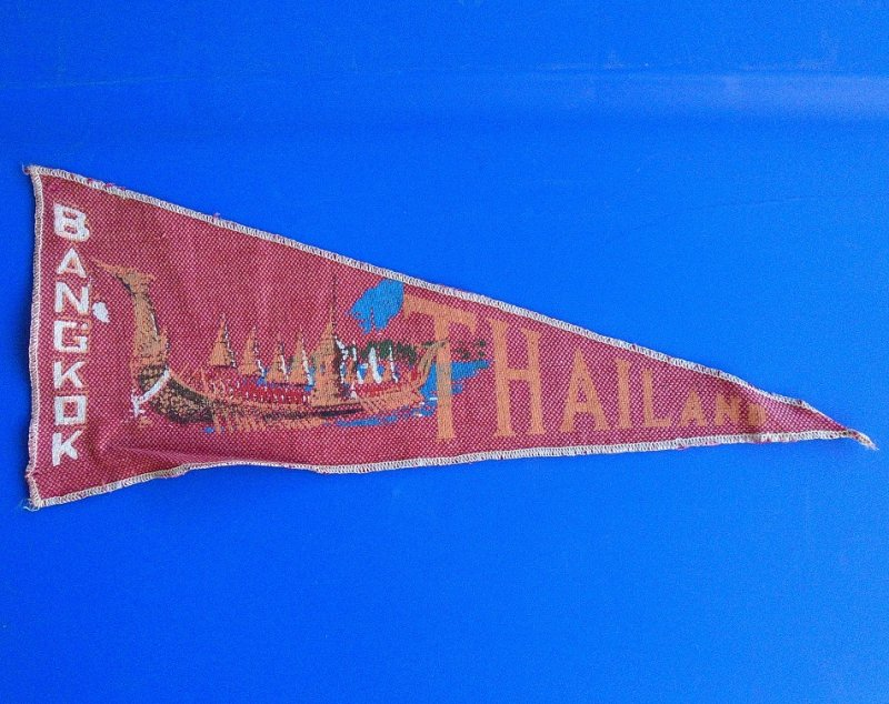 Souvenir cloth pennant, banner, flag from Bangkok Thailand. Dates between 1950s to 1960s. Part of a vintage collection purchased at an estate sale.