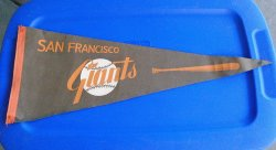 San Francisco Giants Vintage 1960s Orange Bat Pennant Banner