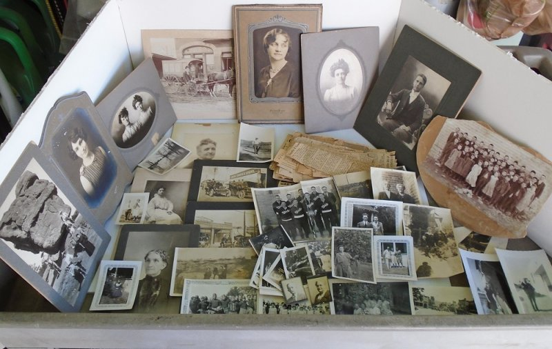 Large genealogical collection of photos and newspaper articles. Dates 1900 to 1940s. Chanute Kansas and other locations. Montague name and others.