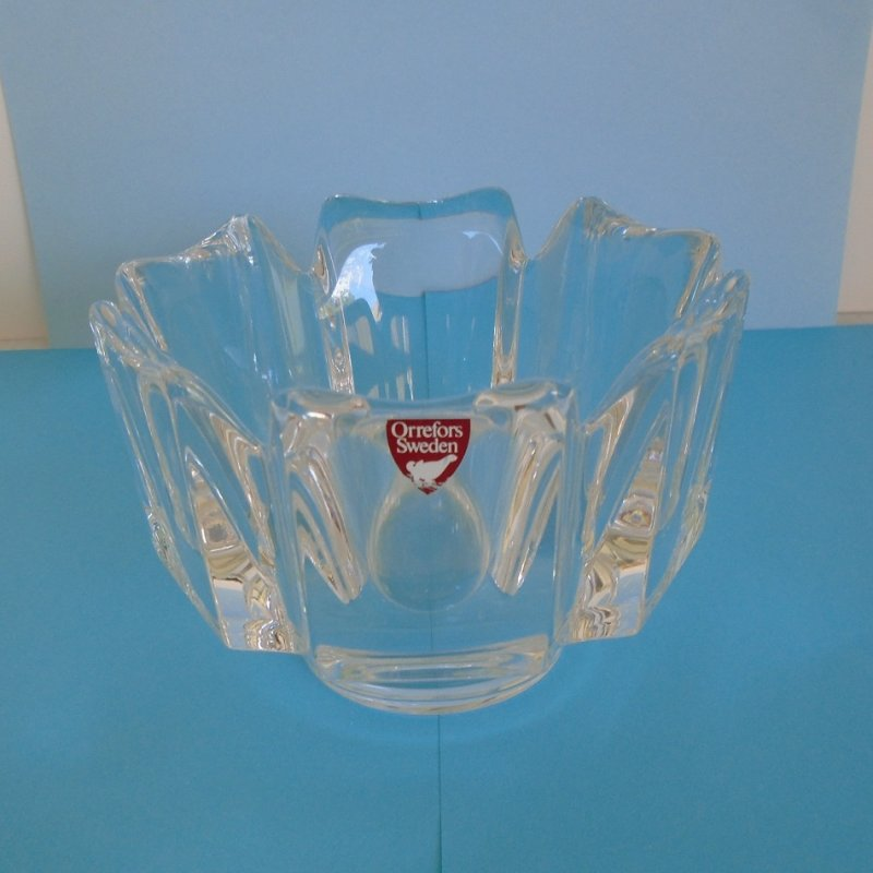 Orrefors of Sweden crystal bowl. Design is called Corona. Dates between 1978 - 1982. Never used. From Beverly Hills estate.