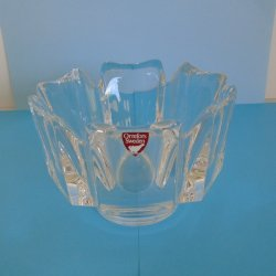 Orrefors Sweden Crystal Decorative Bowl, Corona, Signed