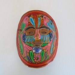 South American Art, Terra Cotta Clay Face Mask Wall Hanging