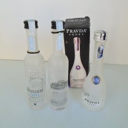 Belvedere and Pravda Vodka, 3 empty 50ml Bottles, Poland