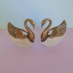 Swan Salt Cellar Lipstick Holders Pair, Silver Plate Crystal