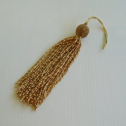 Tassel Pull, 7 inch, GoldTone Bugle and Ball Beads