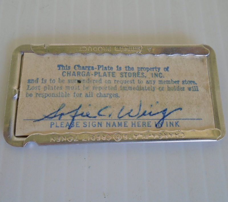 This Charga-Plate is a predecessor to today's credit cards. It was used during the period of the 1930s to 1950s. This is where it all began.