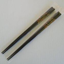 Chopsticks, Black with Flowers, 8.75 inch, 2 pair unused