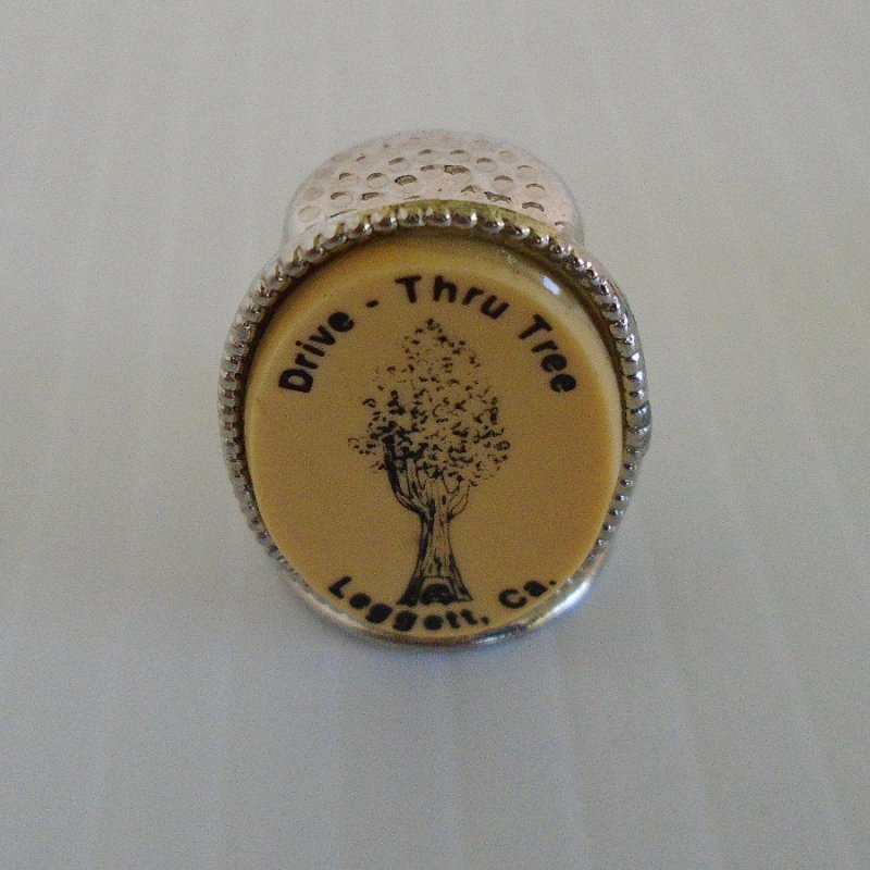 Souvenir thimble from Leggett California located in Mendocino County Northern California. It shows a giant tree with a car driving thru the base.