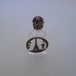 Mini Perfume Bottle with Eiffel Tower and Pink Stone Lid
