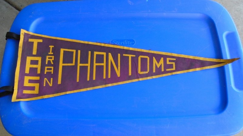 Vintage 1950s to 1979 TAS Iran Tehran American School pennant banner. 29.5 inches long, burgundy in color. Estate purchase.