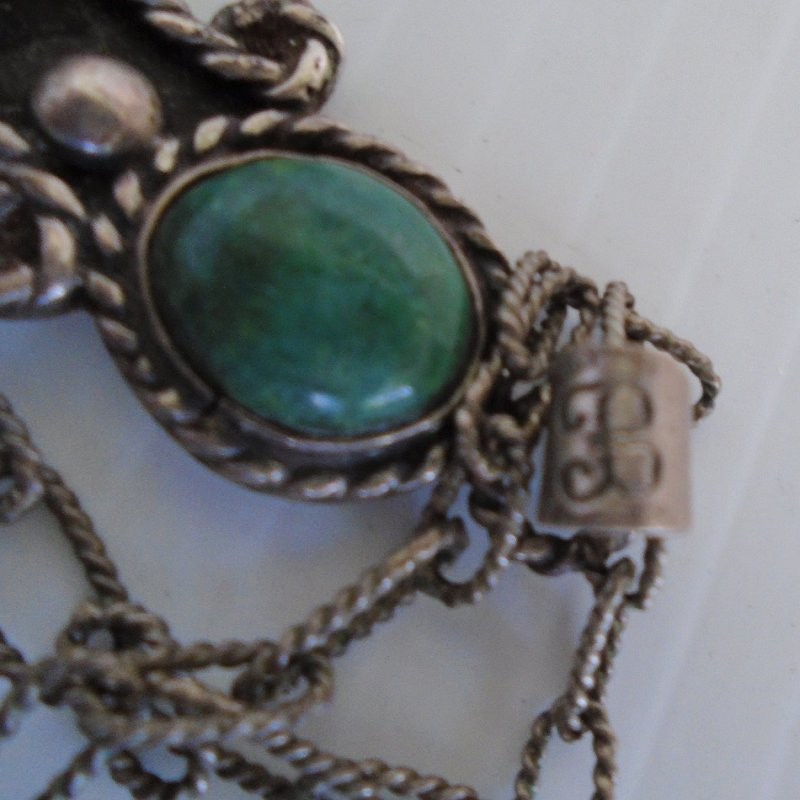 1940s Talleres De Los Ballesteros sterling silver cross pendant with malachite cabochon stones. Includes probable original chain. Estate find.