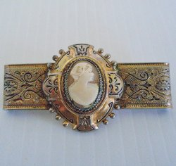 Antique Cameo Brooch Bar Pin, circa 1920s, Gold Plated