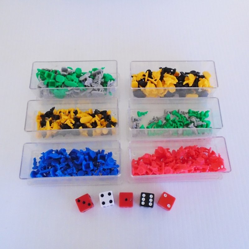Replacement parts or tokens for the board game RISK. Tokens only, no box, no board, no cards, no instructions.