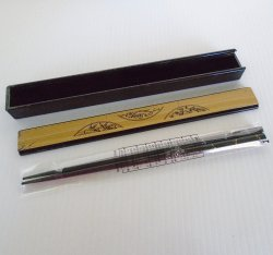 Chopsticks, Black with Gold and Silver Dragonflies, Unused
