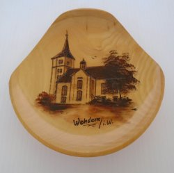 Wehdem Germany Cathedral Wood Wall Plaque, Handgemalt