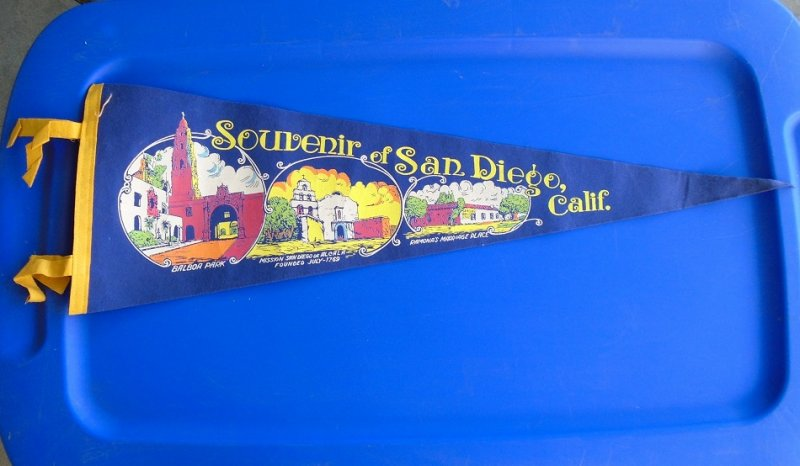 San Diego California Souvenir banner, pennant, flag. Balboa Park, Mission San Diego de Alcala, and Ramona's Marriage Place. 1950s to 1960s time frame.