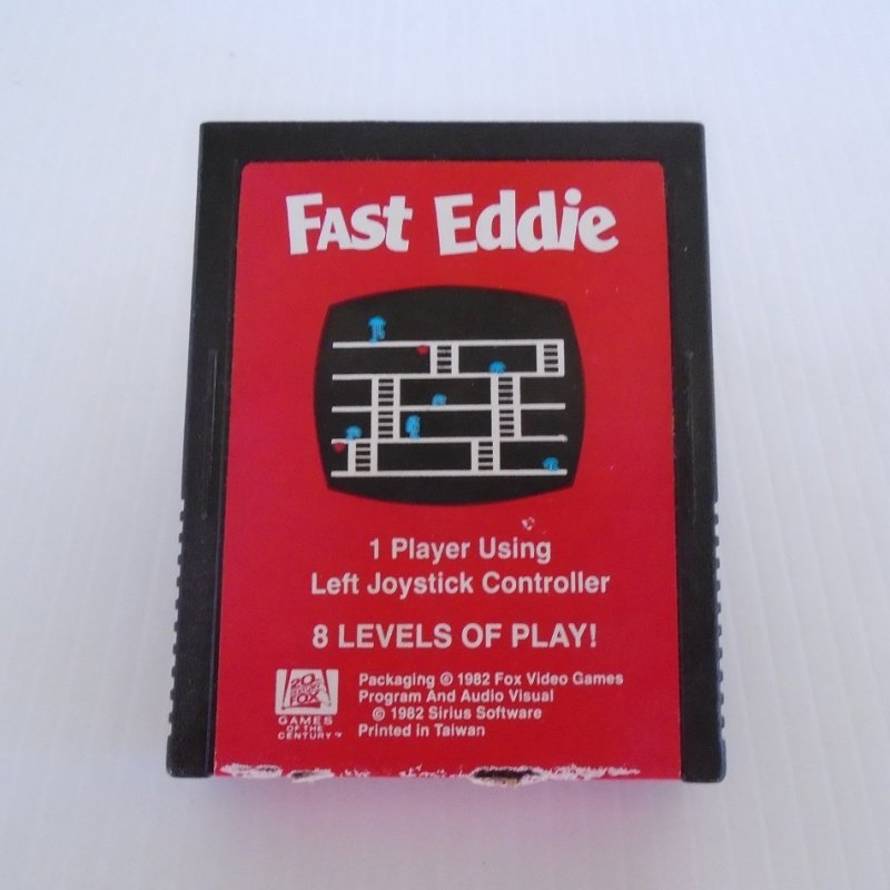 Atari 2600 game cartridge titled Fast Eddie. Produced by 20th Century Fox. Dated 1982
