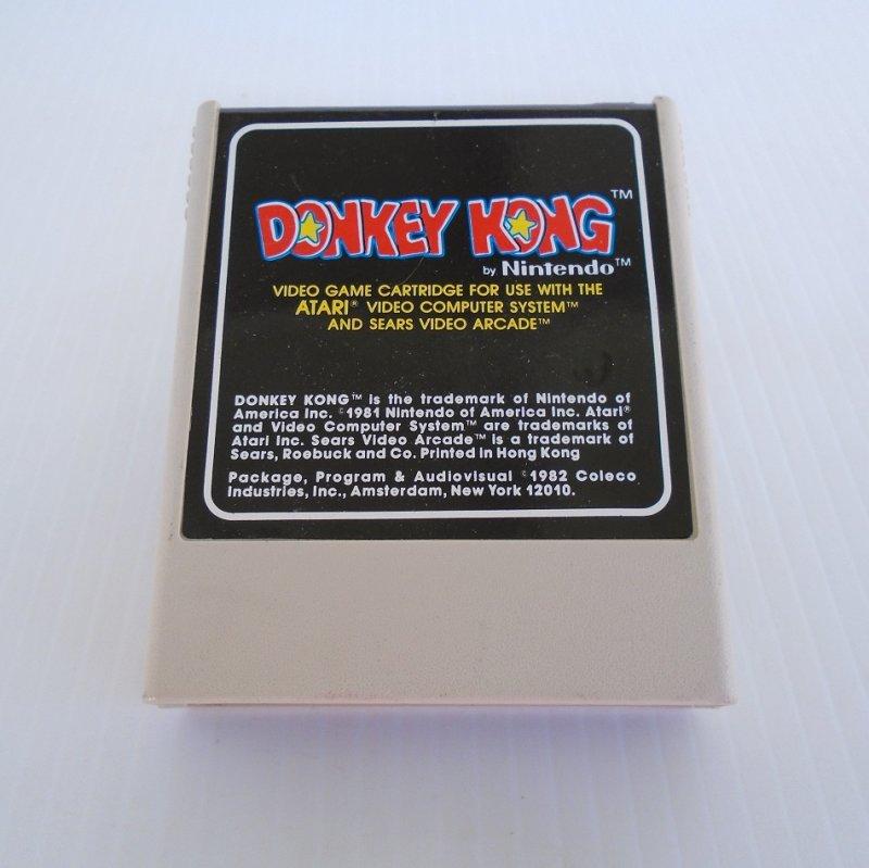 Donkey Kong game cartridge for Atari 2600 system. Label states