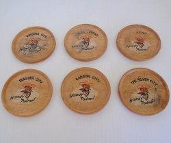 Vegas Vic Casino Logo 1950s Wood Coasters, Nevada Locations