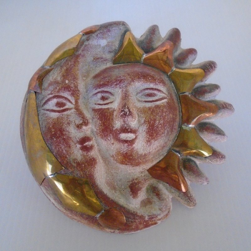 Sun And Moon Wall Art moon, sun, shooting star copper and clay wall art 7.5 inch