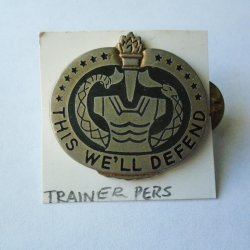 1 Trainer Personnel US Army Green and Silver DUI Crest Pin