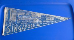 Singapore 1950-60s Pennant Banner, Clifford Pier & Sea Front