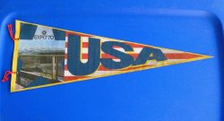 EXPO 70 Suita Osaka Japan, USA Felt Pennant Banner
