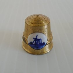 Thimble, Solid Brass with Porcelain Delft Blue Windmill