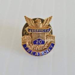 U.S. Treasury Department 20 Year Service Pin, 10k GP